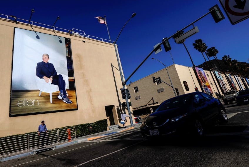 """A billboard advertising """"The Ellen DeGeneres Show"""" is pictured outside the Warner Bros. Lot where the talk show is taped in Burbank, California. Ellen DeGeneres will end her Emmy-winning daytime talk show next year after its upcoming 19th season, the comedian said in an interview published in The Hollywood Reporter. The Kelly Clarkson Show is set to take over The Ellen DeGeneres Show's timeslot when Ellen comes to an end next year. REUTERS/Mario Anzuoni"""