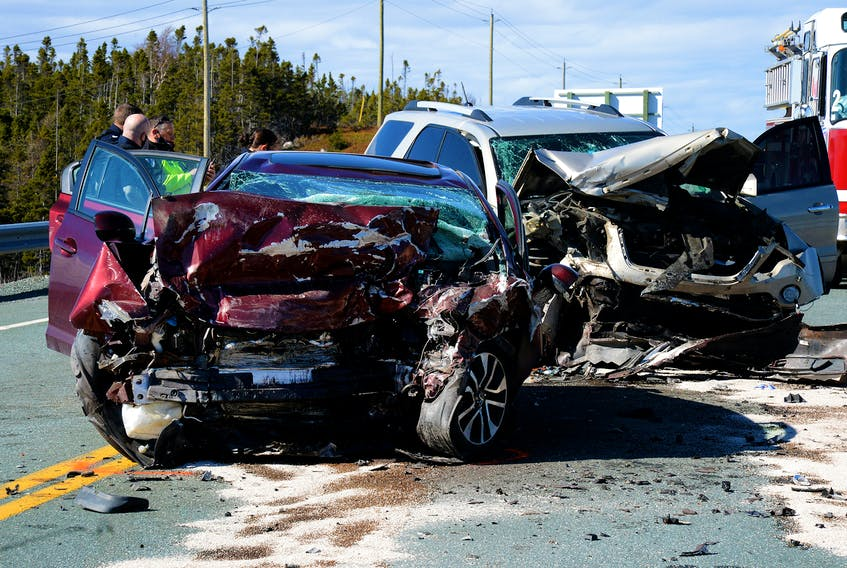 Three people were taken to hospital, one with serious injuries, following this two-vehicle crash in Conception Bay South Tuesday afternoon. Keith Gosse/The Telegram