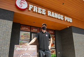 Cam Taylor, owner of the Free Range Store on Larry Uteck Blvd., poses for a photo outside his new pub on Tuesday, May 5, 2021. The Free Range Pub is scheduled to open for food takeout and delivery next week.