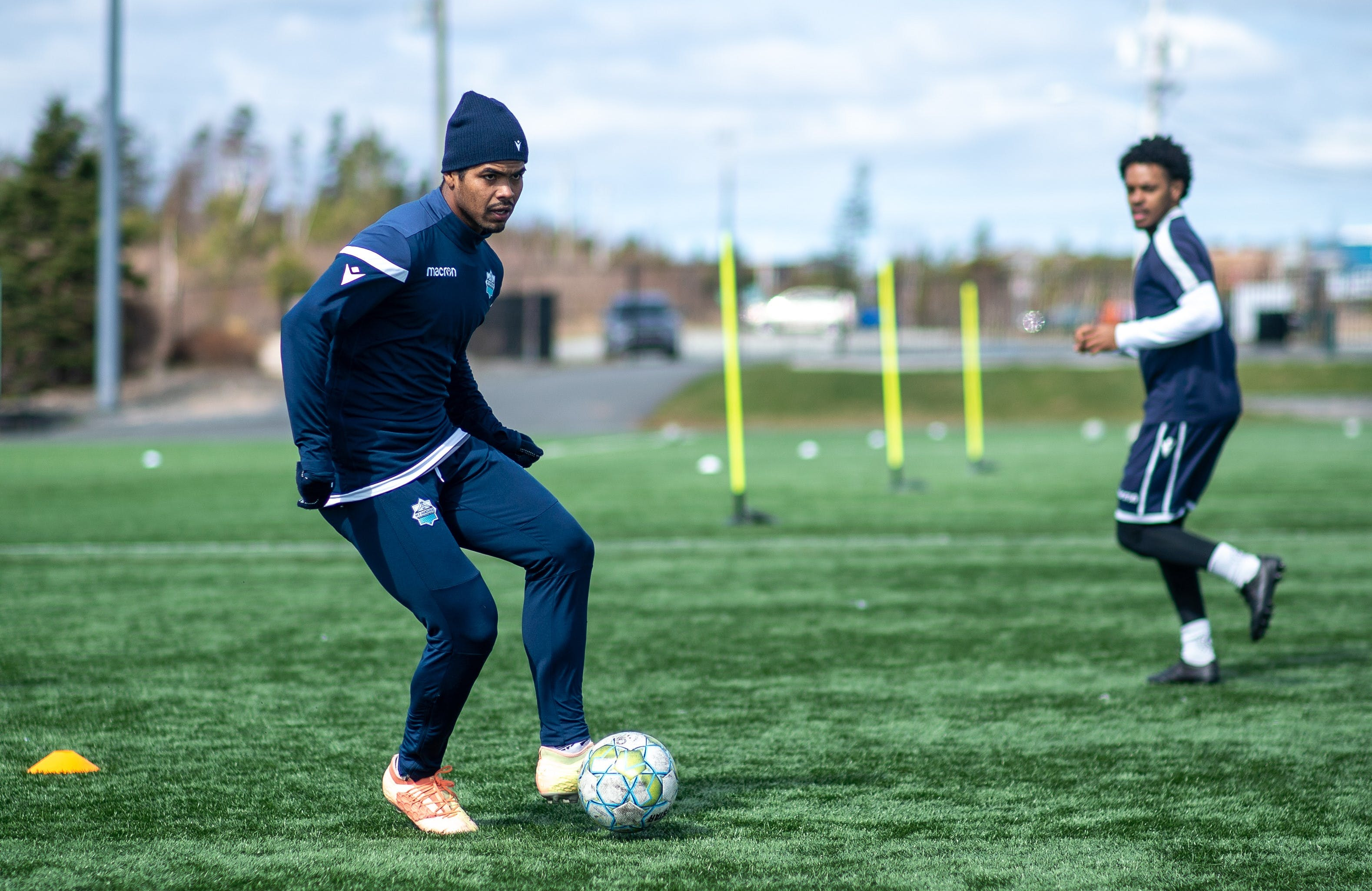 Eriks Santos (middle) and the HFX Wanderers conduct a passing drill during the team's training camp last month at the Soccer Nova Scotia facility in Clayton Park. - Dylan Lawrence / HFX Wanderers