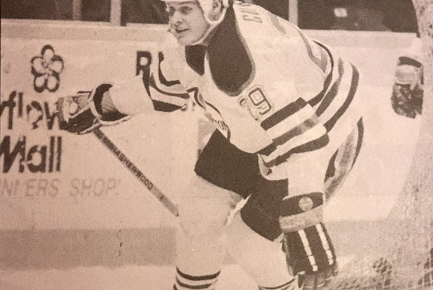 Cape Breton Oilers forward Dan Currie during an American Hockey game in 1989-90 at Centre 200 in Sydney. CONTRIBUTED