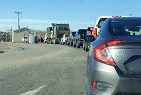 Vehicles wait to enter the Sydney Port Access Road waste management facility on Tuesday. IAN NATHANSON/CAPE BRETON POST
