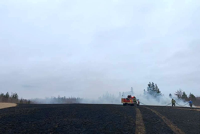 Members of the Florence Volunteer Fire Department fighting a grass fire on the Toronto Road on April 12. CONTRIBUTED - Sharon Montgomery