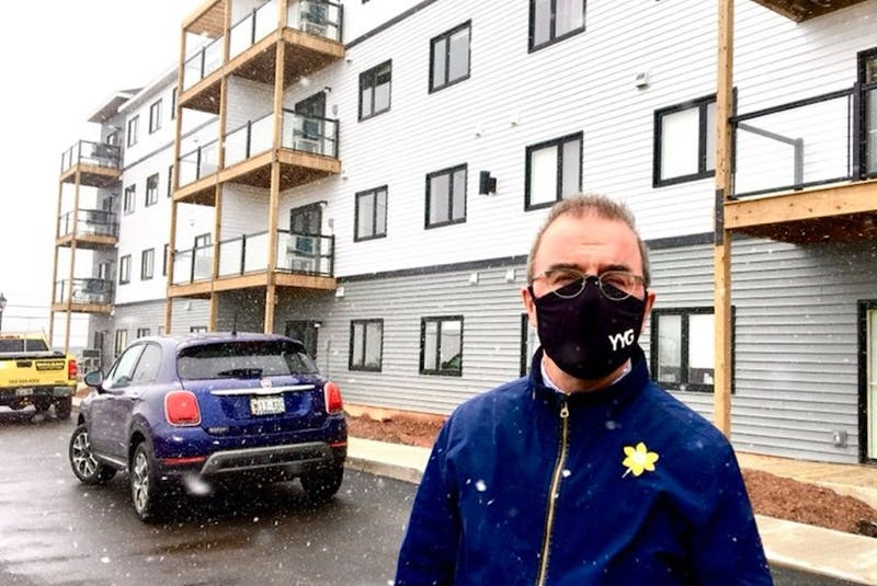 Mayor Philip Brown stands in front a new housing project being built in Charlottetown. The project is being funded by the provincial government, and 10 per cent of the units will be affordable, said Brown.  - Rafe Wright/Special to The Guardian