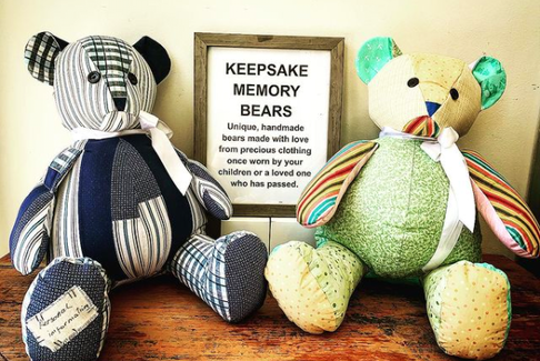 Paula Rodgers made these two bears from clothes at Frenchy's to gain some exposure. Here they are at Hippie Chiks Natural Health Shop in downtown New Glasgow.