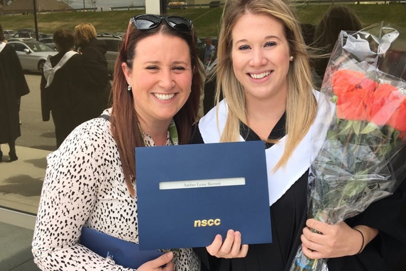 Amber Barrett, right, with her sister Jackie at Amber's Nova Scotia Community College graduation. CONTRIBUTED   - Contributed