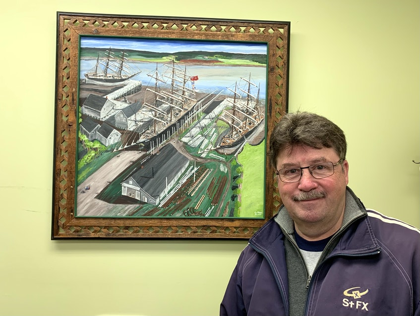 When he's no longer the MLA for Hants West, Chuck Porter says he'll miss the everyday interactions he has with his constituents, and being able to help them with issues, the most. This painting was created by a Hantsport artist and is prominently displayed at Porter's Windsor office. - Carole Morris-Underhill