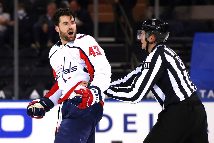 Tom Wilson of the Washington Capitals yells at the New York Rangers bench during Monday's game.