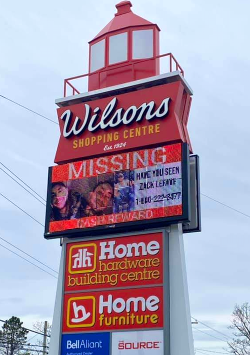 A missing person alert about Zack Lefave is displayed on the Wilsons Shopping Centre sign in Barrington Passage, in southwestern N.S. CONTRIBUTED - SaltWire