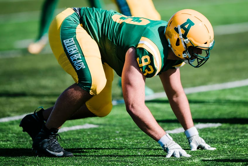 After a strong showing in the virtual combine last month, University of Alberta Golden Bears defensive lineman Cole Nelson was drafted in the first round, fourth overall, by his hometown Edmonton Football Team on Tuesday, May 4, 2021.
