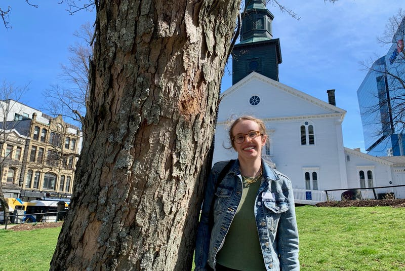 Maggie Archibald, shown after an interview at the Grand Parade, has volunteered at a COVID-19 testing clinic in the nearby Halifax Convention Centre since February. - John McPhee