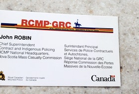 This is the business card RCMP Chief Superintendent John Robin gave Sharon McLellan in April.