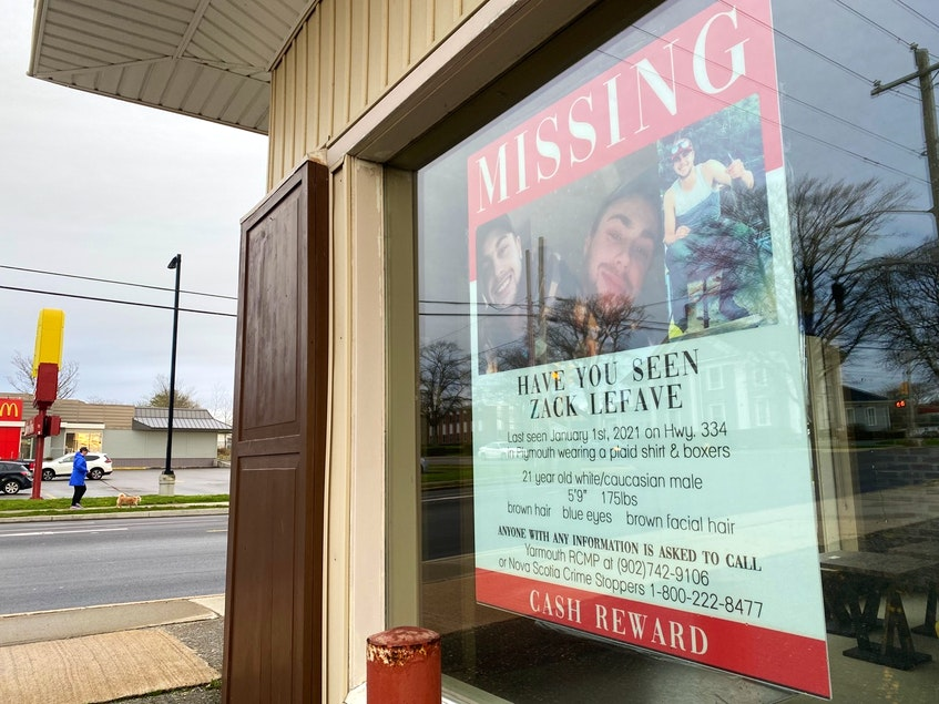 Missing persons posters with photos of Zack Lefave can be seen throughout Yarmouth. This one is in the window of the Nothing Fancy furniture store. TINA COMEAU PHOTO - Tina Comeau