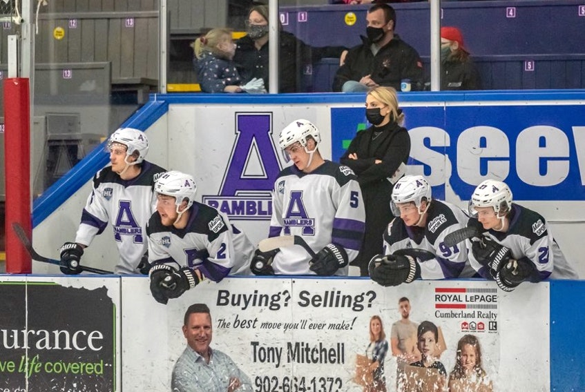 Mallory Rushton on the bench with the Maritime Junior Hockey League's Amherst Ramblers on April 24. She is the first woman to serve as a coach or assistant coach with an MHL team.