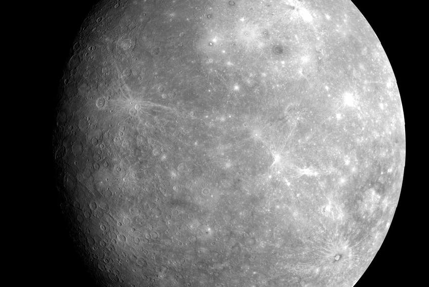 A high-resolution image of Mercury taken from a fly-by. Skywatchers in Atlantic Canada will be able to spot the planet this week, after being out of view for several weeks. Look for Mercury in the constellation Taurus in the western, early-evening sky. - NASA image