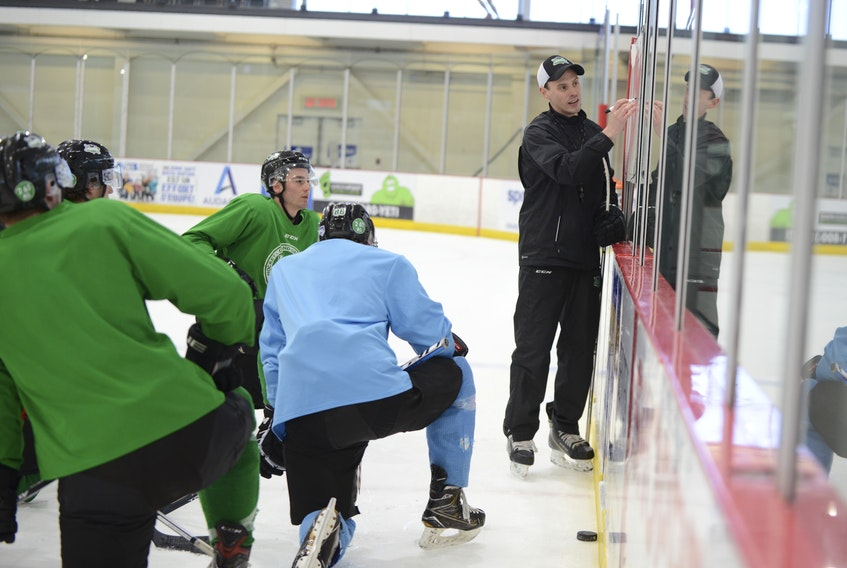 Grand Falls Rapids head coach Brad MacKenzie was recently named the Maritime Junior Hockey League's co-coach of the year with Sandy McCarthy of the Campbellton Tigers.