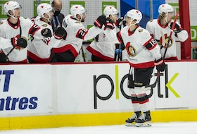 Senators forward Tim Stuetzle, seen here celebrating his goal against the Canucks on Thursday, is sharing the house of former Ottawa winger Mark Stone with teammates Brady Tkachuk and Josh Norris.