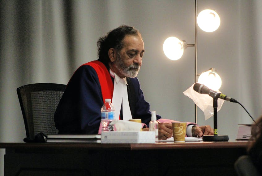 Justice Vikas Khaladkar in Newfoundland and Labrador Supreme Court in St. John's Wednesday during a recess in the sexual assault trial of Royal Newfoundland Constabulary officer Doug Snelgrove.