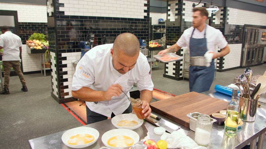 Stéphane Levac works on an Elimination Challenge dish on the first episode of the ninth season of Top Chef Canada. – Food Network Canada - Contributed