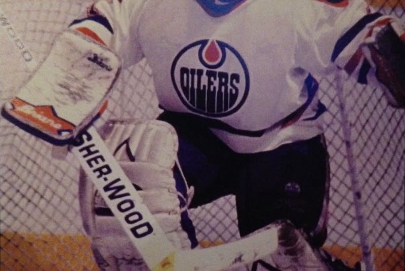 Wayne Cowley watches the play during his first NHL game with the Edmonton Oilers during the 1993-94 season. The netminder played two-and-a-half seasons with the Cape Breton Oilers, winning a Calder Cup with the team in 1993. Contributed - Contributed