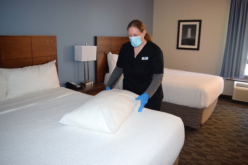 Janelle Geizer of Sydney River, a housekeeper at the Travelodge in Sydney, was at work Wednesday. After a person self-isolating at the hotel tested postive for COVID-19, Geizer took time off from her job until she received a negative test result. Sharon Montgomery-Dupe • Cape Breton Post