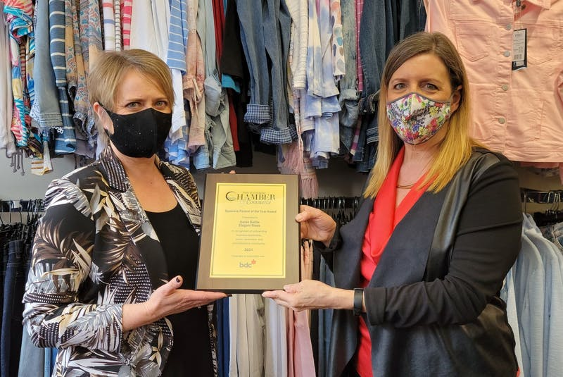 Karen Baillie, left, owner of Elegant Steps on Inglis Place, receives the Business Person of the Year Award from Michelle Bursey, senior account manager of BDC Truro. - Contributed