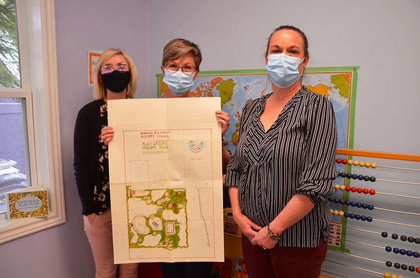 Joanna McGrath, co-president of the Berwick and District Nursery School parent executive, director and teacher Cindy Gates-Dee and assistant director and teacher Christa Reid with the original rendering for the school's playground, which was drawn in 1994. KIRK STARRATT