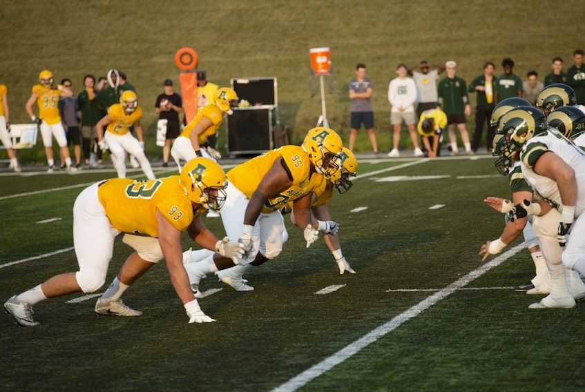 University of Alberta Golden Bears defensive lineman Cole Nelson (93), lines up against the University of Regina Rams in this supplied photo. The 24-year-old Ponoka resident was taken in the first round (fifth overall) of the Canadian Football League draft on Tuesday, May 4, 2021.