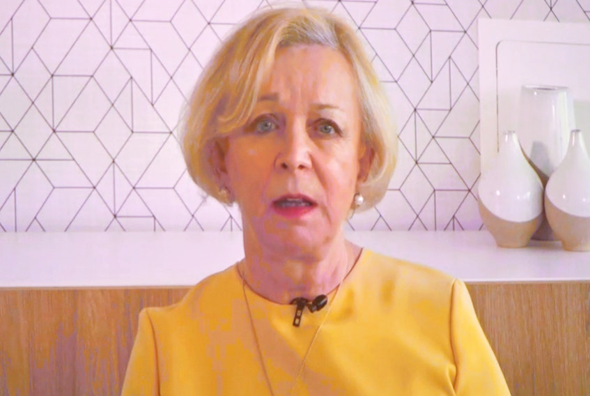 Dame Moya Greene outlines the key recommendations of the report of the Premier's Economic Recovery Team Thursday virtually from her home in the United Kingdom.