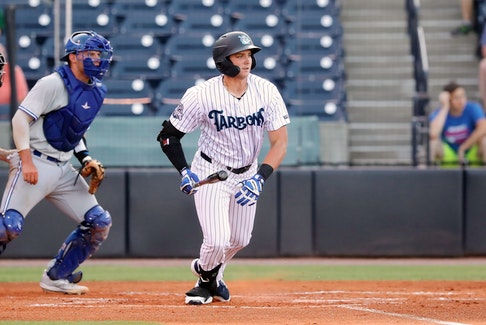 Dartmouth's Jake Sanford collected four hits to open his MiLB season with the Tampa Tarpons on Tuesday night against the Dunedin Blue Jays in Low-A Southeast action in Tampa, Fla. – Contributed
