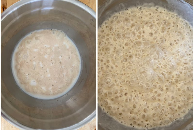 On the left is what you're looking for in the froth. On the right is the batter after sitting for 45 minutes. — Erin Sulley