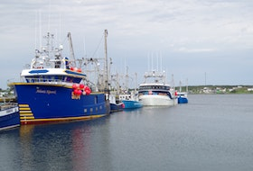Fishing boats at Catalina, Trinity Bay, NL, June 2020.