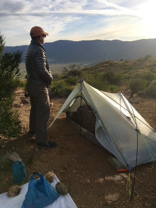 William Monk is pictured at a campsite he established in a desert in California. - Contributed