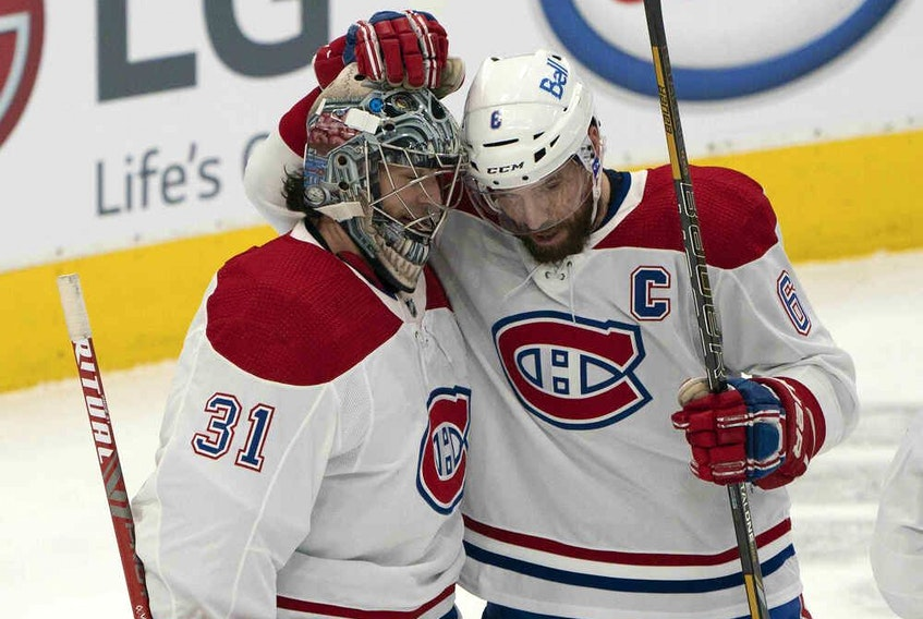 Montreal Canadiens defenceman Shea Weber (6) celebrates with goaltender Carey Price (31) after defeating the Toronto Maple Leafs in February.