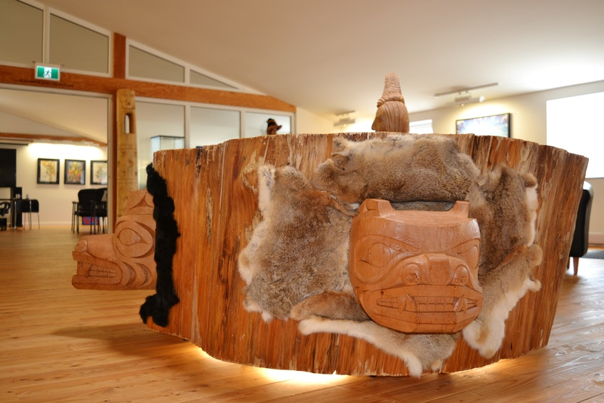 West Coast artist Gerry Sheena turned a scrap piece of a 453-year-old tree into this carved table, which is now a centrepiece in one of the many rooms in the Friends United gallery and convention centre. ARDELLE REYNOLDS • CAPE BRETON POST - Ardelle Reynolds