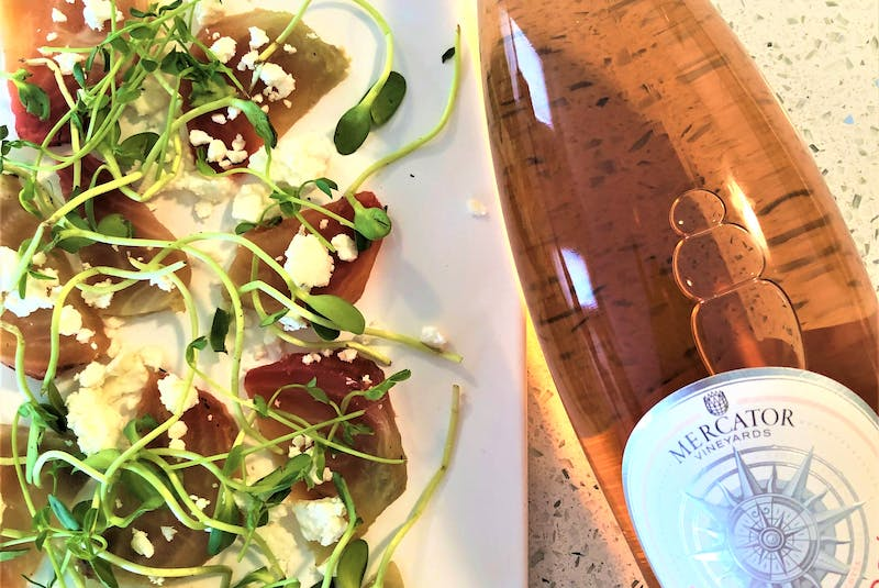 Mercator Vineyards rose makes an excellent match to beet salad according to sommelier Mark DeWolf. Photo: Mark DeWolf - Mark DeWolf