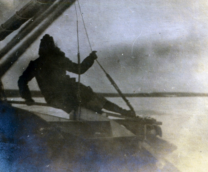Katharine McLennan on the iceboat Orion on Sydney harbour in front of her family's Petersfield estate in 1921. Iceboating was a popular winter activity for the McLennans and their friends. CONTRIBUTED • CBRL-P336 - Contributed