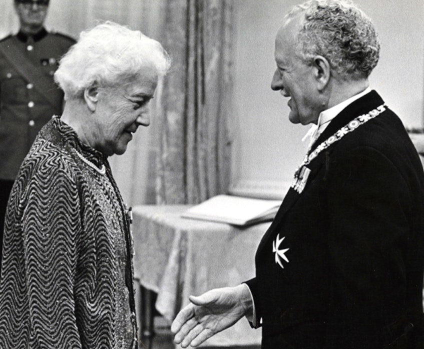 Katharine McLennan receives the Order of Canada Medal of Service from Gov. Gen. Roland Michener in Ottawa in 1972. CONTRIBUTED • CBRL-P461 - Contributed
