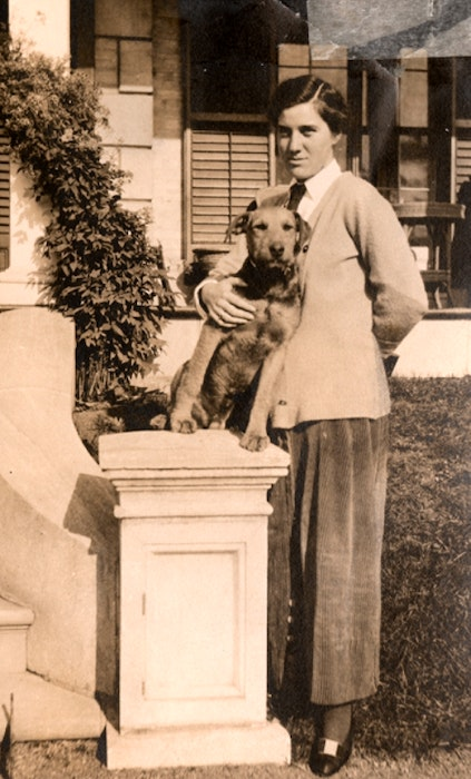 Katherine McLennan in 1915 with her dog Jacob, before she heads to France to work as a nurse. CONTRIBUTED • CBRL-P387 - Contributed