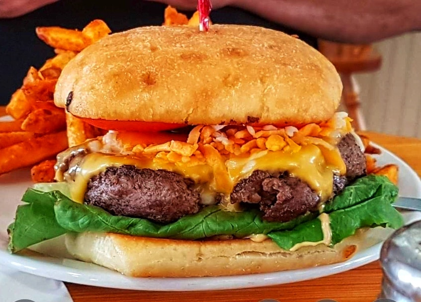Myrtle and Rosie's Café in Bear River first won Burger Wars with the Nacho Burger in 2019. – Contributed