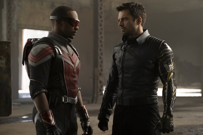 Sam Wilson / Falcon (Anthony Mackie), left, and Bucky Barns / Winter Soldier (Sebastian Stan) are a charming duo in Disney+ action romp The Falcon and the Winter Soldier. - Disney