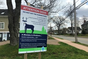 The Town of Truro has put up large signs, such as this one on the corner of Young and Brunswick streets, discouraging the feeding of deer in the community.