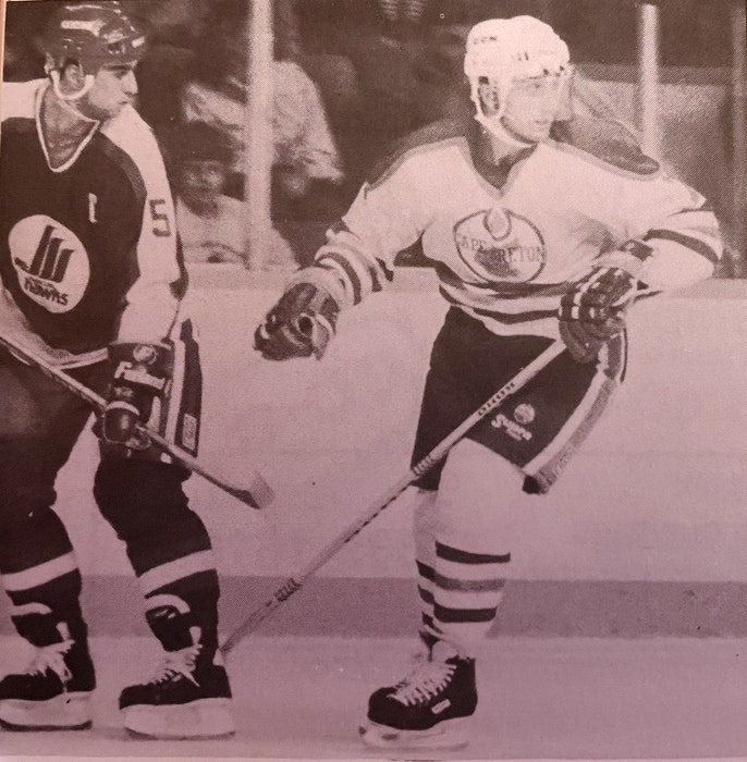 John Hanna Jr., right, played 20 games with the Cape Breton Oilers during the 1988-89 American Hockey League season, posting seven goals and 16 points. Hanna is currently the assistant general manager of the Cape Breton Eagles. CONTRIBUTED - Contributed