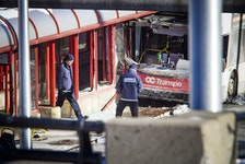 Ottawa police have the area around the Westboro transit station cordoned off with police tape and cruisers Saturday Jan. 12, 2019, while the collision is investigated.