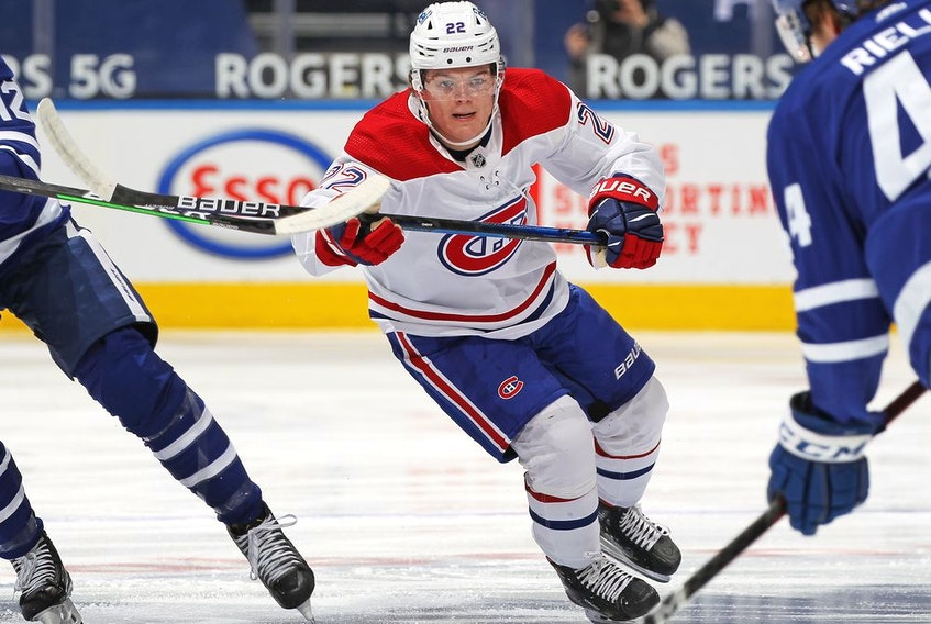 Canadiens rookie Cole Caufield skates against the Toronto Maple Leafs at Scotiabank Arena in Toronto on Thursday, May 6, 2021.