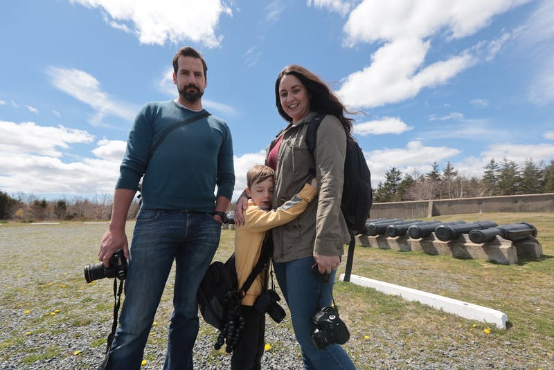 Jen Meza, her husband Carlos and son Linden get set to check out York Redoubt.. - Eric Wynne