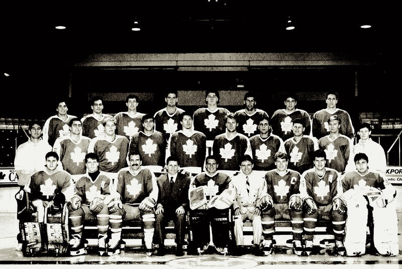 The first official team photo of the St. John's Maple Leafs, taken just prior to the start of the 1991-92 American Hockey League season. The team at that time included (from left): front row: Felix Potvin, Todd Hawkins, Joel Quenneville (playing assistant coach), head coach Marc Crawford, Damien Rhodes, communications/business manager Chris Read, Len Esau, Mike Stevens and Robert Horyna; middle row: athletic therapist Brent Smith, Jeff Serowik, Greg Johnston, Mike Eastwood, Mike MacWilliam, Brad Aitken, Kevin McClelland, Keith Osborne, Rob Mendel and equipment manager Rob McLean; back row: Andrew McKim, Cory Banika, Mike Moes, Greg Walters, Mike Jackson, Guy Lehoux, Yanic Perreault and Dave Tomlinson. Potvin, Rhodes, Eastwood and Perreault all went on to substantial NHL careers, although a total of 18 players who suited up for the AHL Leafs in 1991-92 would also play in the NHL that season and/or in future seasons. Quenneville and Crawford would both go on to coach Stanley Cup champions, while McClelland and Walters became head coaches in the major junior ranks. St. John's went all the way to the AHL Calder Cup final that first season, losing to the Adirondack Red Wings in a series that went the full seven games, with neither team winning a game on home ice. By the time the playoffs started, the St. John's roster was significantly different than it had been at the time of this picture. Todd Gillingham, Rob Pearson, Kevin Maguire, Curtis Hunt, Bruce Bell, Rob Cimetta, Ted Crowley, Mark Ferner, Terry Chitaroni, Kent Manderville, Drake Berehowsky and Joe Sacco — none of whom are in this photo — would play at least one game for St. John's in the 1992 post-season. Hunt, Berehowsky and Sacco would also go on to high-level coaching careers, Berehowsky and Hunt with major junior teams and Sacco in the NHL. — File Photo