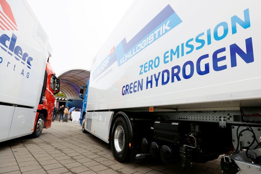 In this Oct. 7, 2020 photo, a new hydrogen fuel cell truck made by Hyundai is pictured ahead of a media presentation for the zero-emission transport of goods at the Verkehrshaus Luzern (Swiss Museum of Transport) in Luzern, Switzerland. — Reuters