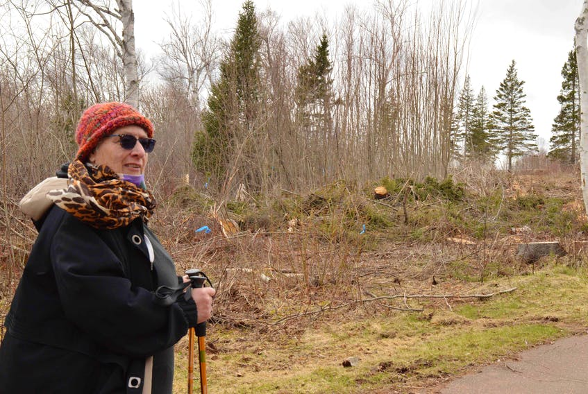 Georgina Markov stands next to one of the cleared areas in Green Park. She's upset at the clear cut and doesn't want to see anything similar at other provincial parks.