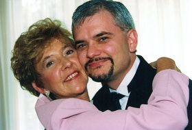 Guardian reporter Dave Stewart, right, is pictured with his mother, Gladys Stewart, on his wedding day in 1999.